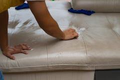 Ledernes Sofa der Reinigung Stockfoto