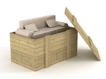Ledernes Sofa in einem geöffneten Kasten. Stockfoto
