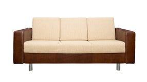 Ledernes Sofa mit Gewebepolsterung Lizenzfreie Stockbilder