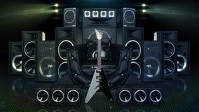 Ledernes Sofa umgeben durch Sprecher und E-Gitarre stock abbildung
