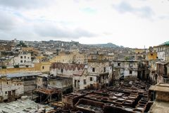 Ledernes Sterben in einer traditionellen Gerberei in der Stadt von Fez stockfotos