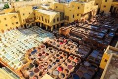 Ledernes Sterben in einer traditionellen Gerberei in Fes, Marokko Stockfotografie