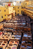Ledernes Sterben in einer traditionellen Gerberei in Fes, Marokko Stockfoto