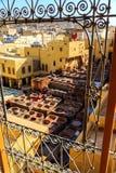 Ledernes Sterben in einer traditionellen Gerberei in Fes, Marokko Stockbilder