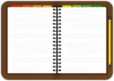 Ledernes Tagesordnungsnotizbuch Lizenzfreies Stockfoto