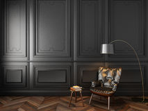 Ledersessel im klassischen schwarzen Innenraum Vektor Abbildung