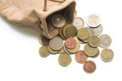 Münzen-Tasche Stockfoto