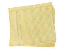 Ledger Paper. Vintage blank yellow ledger paper on white with clipping path Royalty Free Stock Image