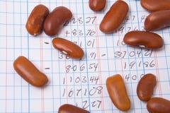 ledgeren för räknaren för redovisningsbönaboken numrerar stapeln Arkivbilder