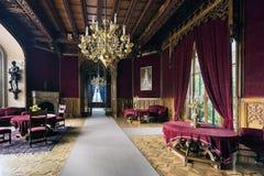 Lednice城堡的红色霍尔 库存图片