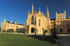 Lednice. The front-view of the neo-gothic chateau Lednice listed on UNESCO, Czech Republic Royalty Free Stock Photography