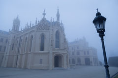 Lednice Castle in the fog Royalty Free Stock Images