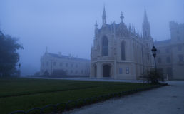 Lednice Castle in the fog Royalty Free Stock Photos