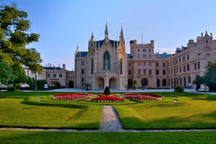 Lednice castle. Is a part of Lednicko-valtický area, natural complex reaching almost 300km2.nIn 18th and 19th century Lichtensteins built it hand in hand with Royalty Free Stock Photos