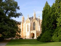Lednice castle in the Lednice-Valtice area, view among trees. Image royalty free stock photos