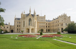 Lednice chateau with french style garden Royalty Free Stock Images
