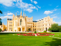 Lednice Chateau on sunny summer day, Moravia, Czech Republic. UNESCO World Heritage Site.  Stock Photography
