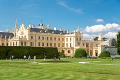 Visitors enjoying free time in beautiful gardens of Lednice cast royalty free stock photography