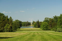 Lednice park. Park in Lednice manor with lake and minaret Stock Photos
