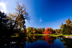 Lednice-Valtice - Autumn. Lednice-Valtice cultural heritage - view of a park with autumn trees and a river stock photography