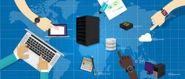 Ledning för infrastruktur för IT för världskarta för internet för moln för router för databas för intranätnätverksserver förbunde vektor illustrationer