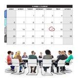 Ledning för kalenderstadsplanerareorganisationen påminner begrepp Arkivfoton