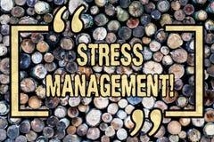Ledning för spänning för ordhandstiltext Affärsidé för den träsjukvården för Positivity för meditationterapiavkoppling fotografering för bildbyråer
