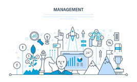 Ledning, organisation av den arbetande processen och tid, affärsplanläggning, teamwork royaltyfri illustrationer