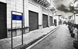 Ledras street Nicosia Lefkosia Cyprus. Ledras street, buffer zone between Nicosia Cyprus and occupied Cyprus, black and white Royalty Free Stock Photos