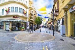 Ledrasstraat met winkels in Nicosia/Lefkosia Cyprus stock afbeelding