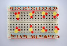 LEDs and electrical components on the board stock photos