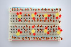 LEDs en elektrocomponenten op de raad Royalty-vrije Stock Afbeelding
