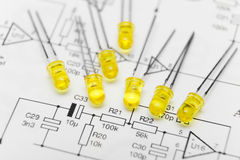 Leds over electronic diagram Royalty Free Stock Photography