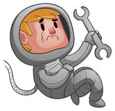 Ledsen astronaut Holding en skiftnyckel Arkivfoton