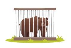 Ledsen björn i zoobur Royaltyfri Bild