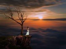 Ledsen brud, ensam brud, brud i bröllopsklänning över solnedgånghimmel, Arkivbilder