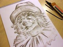 Ledsen clown med revor Royaltyfri Fotografi