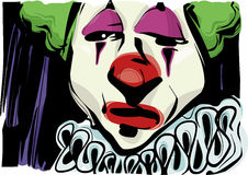 Ledsen clownteckningsillustration Arkivfoton