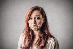 Ledsen desperat kvinna Fotografering för Bildbyråer