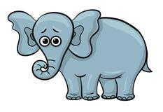 Ledsen elefant för tecknad film stock illustrationer