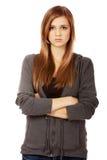 Ledsen eller bekymrad tonårs- nätt kvinna Arkivfoto