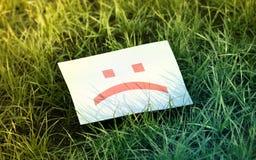 Ledsen emoticon på gräset royaltyfri fotografi