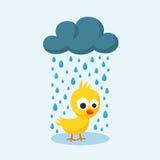 Ledsen fågelunge i regnet på fredag 13th vektor illustrationer