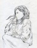 Ledsen flicka Arkivfoton
