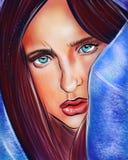 Ledsen flicka med blåa ögon royaltyfri illustrationer