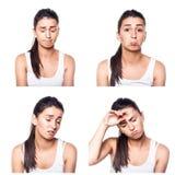 Ledsen, kränkt, olycklig besviken flickakomposit Arkivfoto