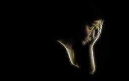 """Ledsen kvinna för fördjupningsbegrepps†"""" royaltyfri fotografi"""