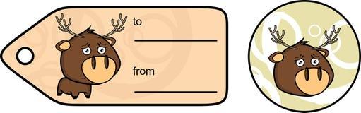 Ledsen liten knubbig klistermärke för giftcard för hjorttecknad filmexprression Royaltyfri Fotografi