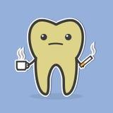 Ledsen mörk tand med kaffe och cigaretten royaltyfri illustrationer