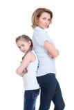 Ledsen moder och dotter som har problem Fotografering för Bildbyråer